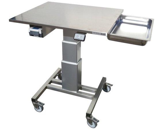 RVS verrijdbare in hoogte verstelbare werktafel
