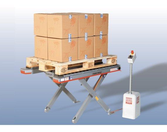 Flexlift FE laagbouw heftafel met vlakke rollenbaan