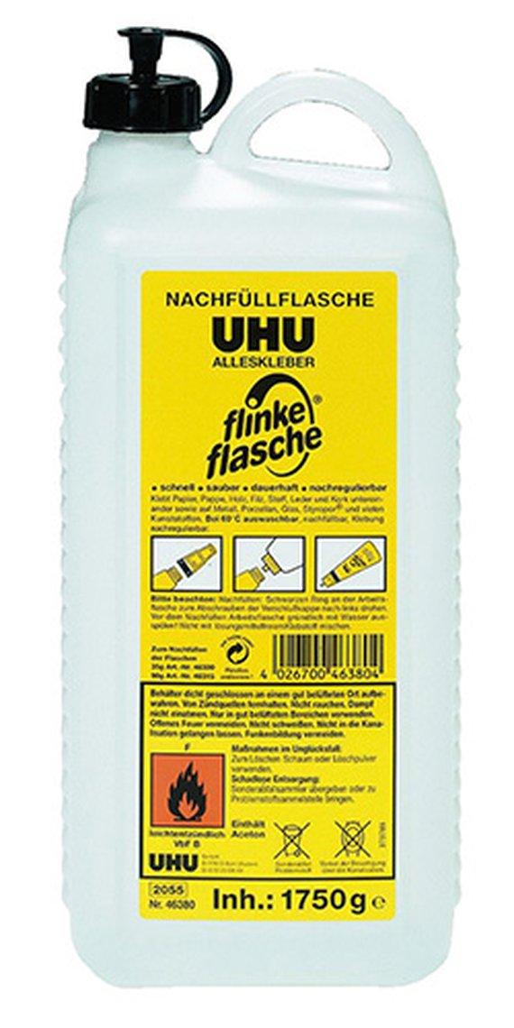 Uhu 1850 ml. Kleber mit Lösungsmittel, hervorragende Klebkraft und auswaschbar bei 40 Grad