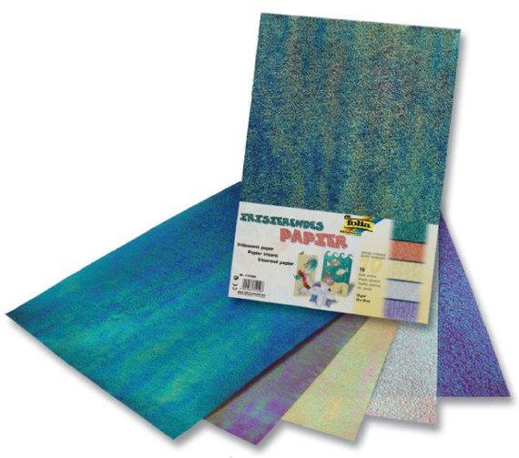 Irisirendes Papier 10 Blatt (5 Farben je 2 Blatt) in verschiedenen Prägungen. Toll zum Basteln von Karten, Einladungen etc.
