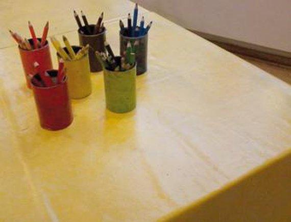 Tafelkleed van wasdoek, geel
