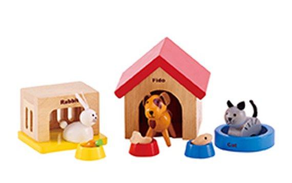 Huisdierenset voor poppenhoek