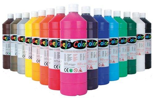 Gejocolor Sortiment (rot, gelb, grün, blau, braun, violett, 2 x weiß, schwarz, pink und orange) je 1000ml. Weiß also doppelt.