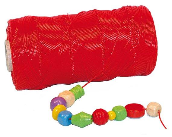 Rijgdraad klos a 300 mtr. rood, met kunststoffen ommanteling.