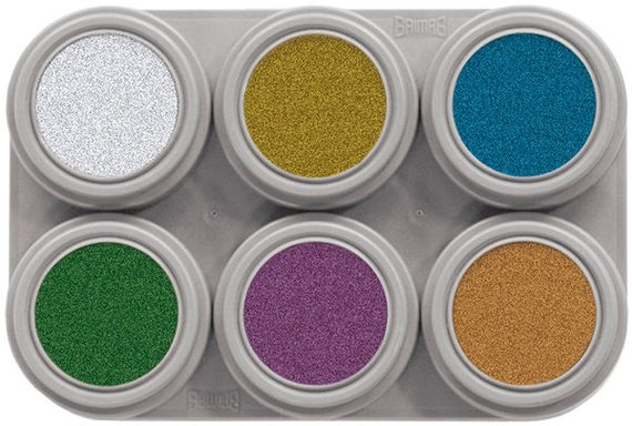 Grimas Metallic is een  ongeparfumeerde en glutenvrije water make-up. 6x2,5 ml.