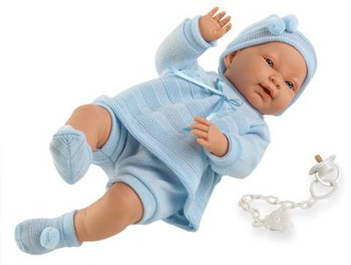 Babypuppe Junge. Länge 45 cm. Tolle, lebensechte Puppe. Lieferung inkl. Kleidung und Schnuller.