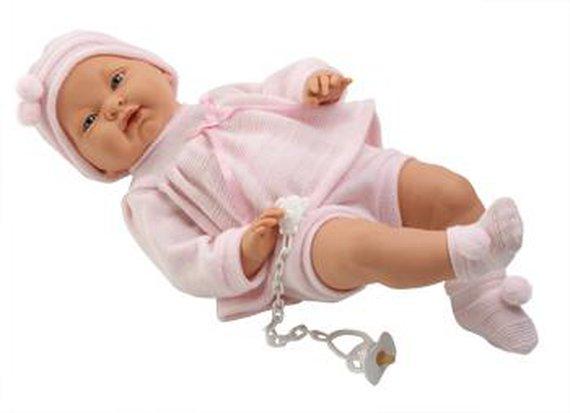 Babypop meisje blank Lengte 45 cm. Levering inclusief kleding en speen aan ketting.