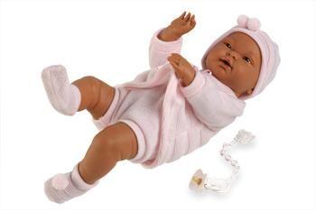 Babypop meisje donker. Lengte 45 cm. Levering inclusief kleding en speen aan ketting.