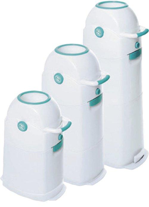 Luieremmer Diaper Champ klein, dus voor 30 luiers. Geschikt voor bijna alle gangbare vuilniszakken. Een echte verkoophit.