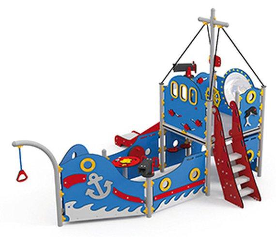 Spielschiff Coaster mit Treppe und offener Rutsche.