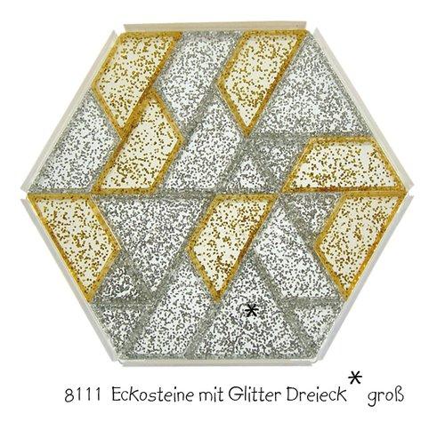 Ecko prismastenen goud en zilver, driehoek GROOT