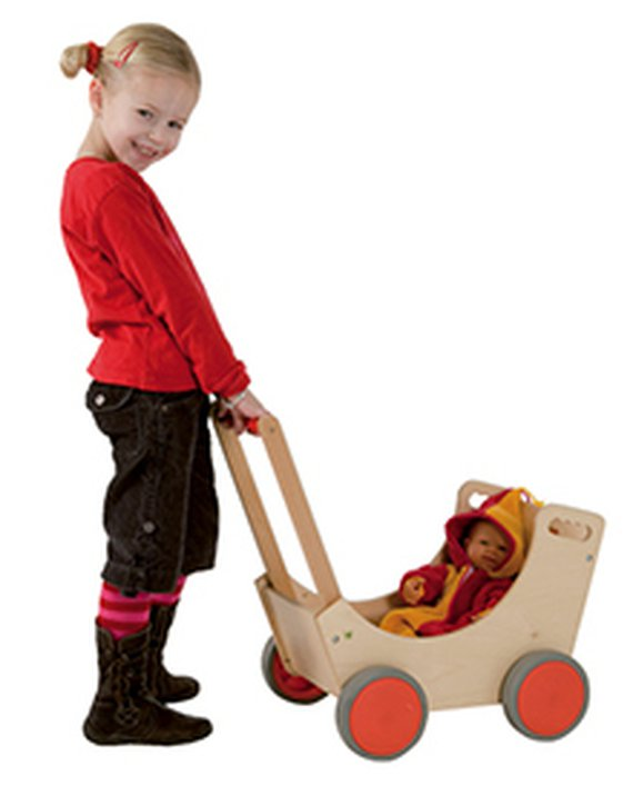 Puppenwagen Holz. Vollgummireifen 52x55x32cm.