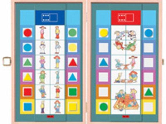 Flocards Holzbox mit Magnete. Die lose erhältlichen Kartensets vermitteln das spielende Lernen.