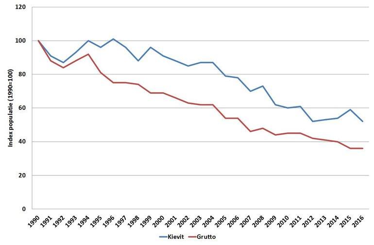 Trend van de populatieomvang van kievit en grutto sinds 1990 in Nederland. De omvang van de populatie in 1990 is op 100 gezet