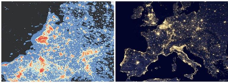 Kaarten lichtemissie in Nederland (Bron: Atlas Leefomgeving) en Europa