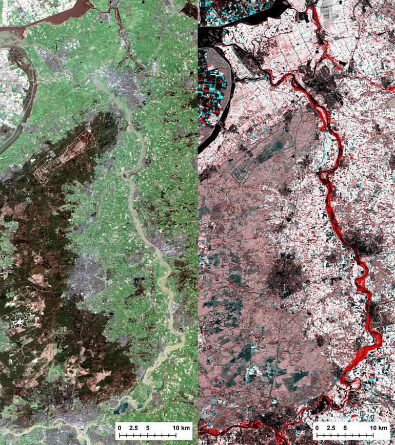 Foto links: satellietfoto van de IJssel op 8 januari 2018. Foto rechts: Gecombineerde beeld waarin de overstroomde IJsseluitwaarden in rood oplichten