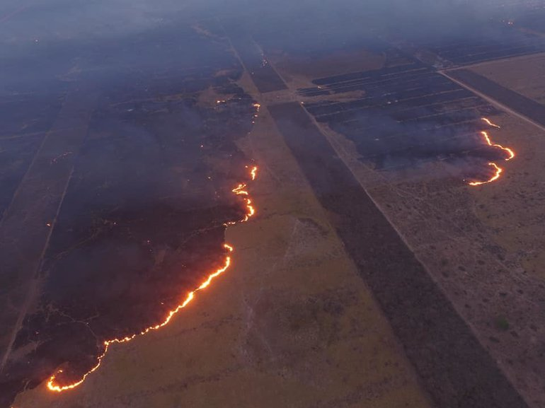 Burning forests as seen from the sky