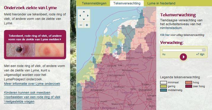 Screenshot van Tekenradar.nl met de tekenactiviteitsverwachting voor 11 april