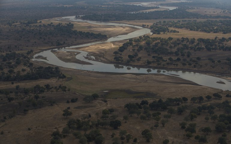 Aerial view of the free flowing Luangwa river