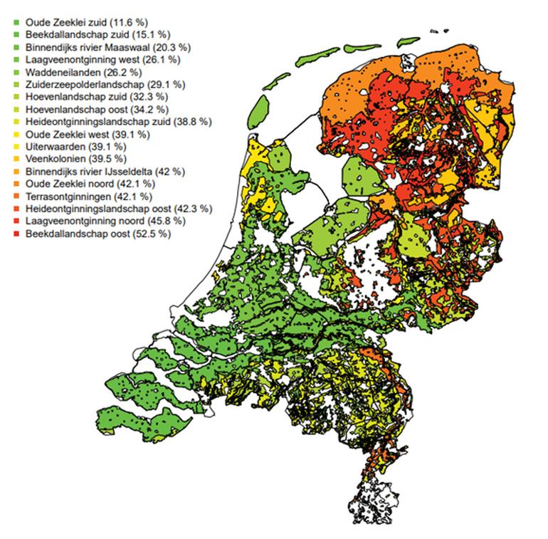Predatiekaart van Nederland op basis van de berekende predatieverliezen per landschap voor de vijf vogelsoorten gecombineerd. Tussen haakjes is het predatieverlies vermeld