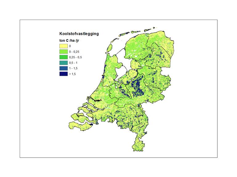 Figuur 2: Ruimtelijk patroon van vastlegging van koolstof in vegetatie en bodems (2013).