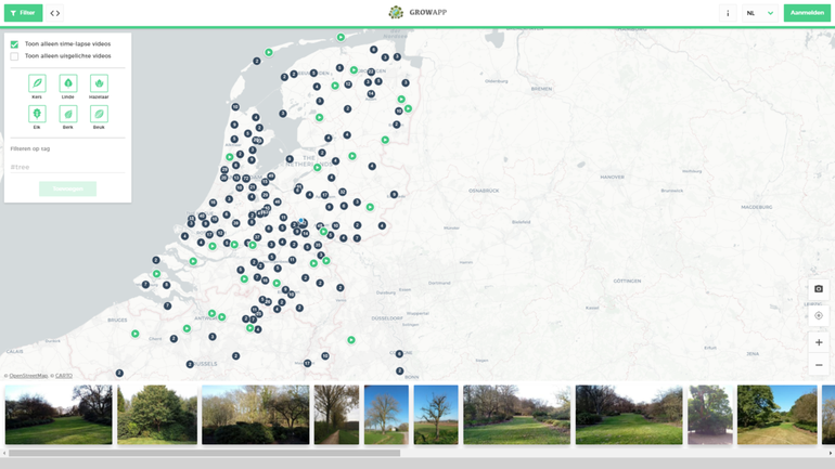 Screenshot van alle GrowApp-fotolocaties