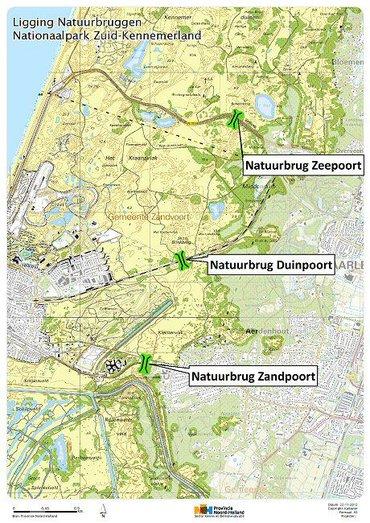 Ligging natuurbruggen in Nationaal Park Zuid-Kennemerland