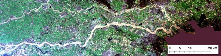 Satellietfoto van het Rijn- en Waalgebied op 8 januari 2018
