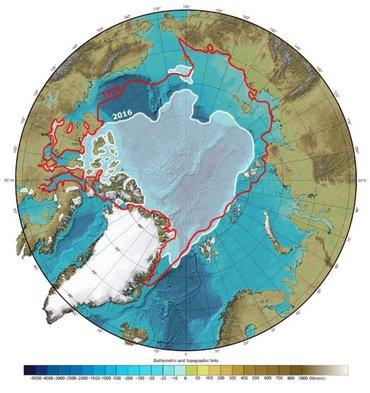 Kaart van de Arctische Oceaan die dieptemetingen en een vergelijking van de zee-ijsdekking aan het eind van de zomer laat zien in 1979 en 2016