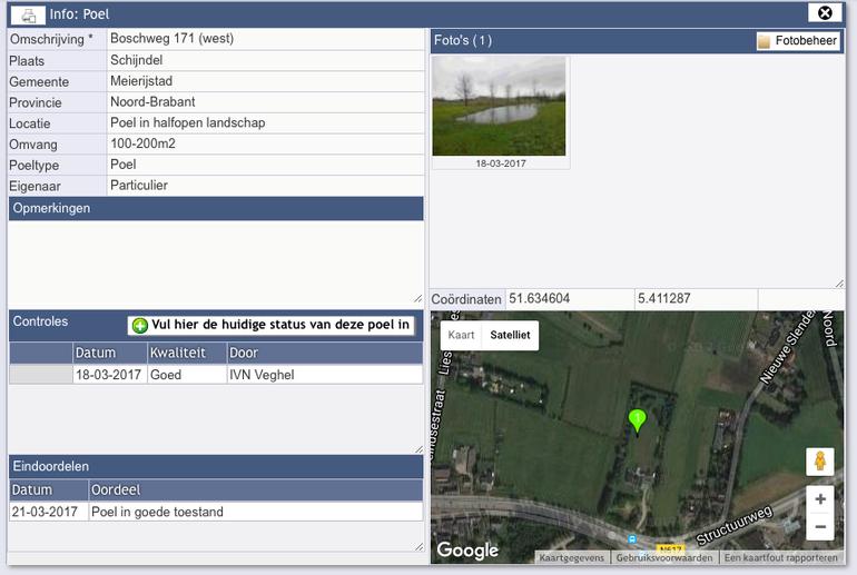 Voorbeeld informatiekaart ingevoerde poel in Brabant