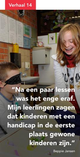 Na een paar lessen was het enge eraf. Mijn leerlingen zagen dat kinderen met een handicap in de eerste plaats gewone kinderen zijn.
