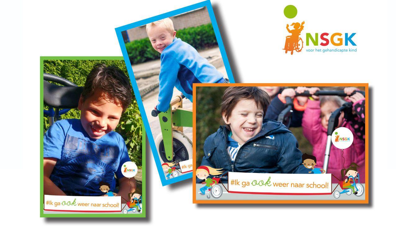Drie foto's: twee kinderen in een rolstoel en één op de fiets