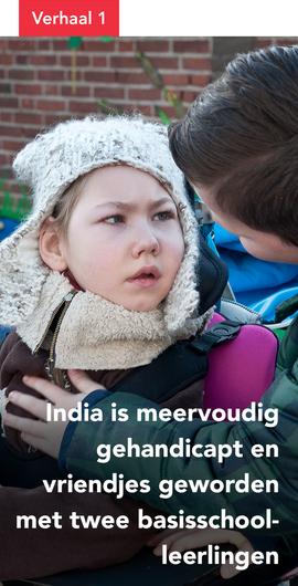 India is meervoudig gehandicapt en vriendjes geworden met twee basisschoolleerlingen