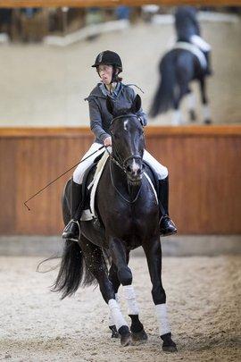 Aranka van Lindert, stagiaire NSGK, op het paard