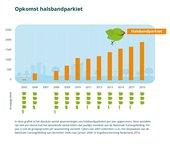 Opkomst van de halsbandparkiet in de Tuinvogeltelling. Het absolute aantal waarnemingen tussen 2005 en 2016.